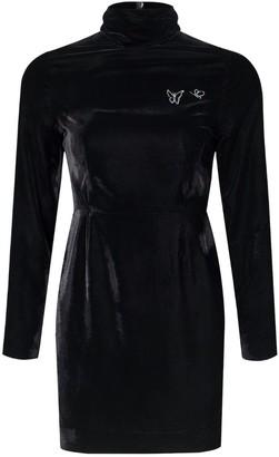 Rue Agthonis Black Velvet Butterfly Diamond Ribbon Dress