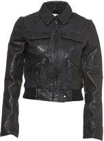 Washed Leather Bomber Jacket