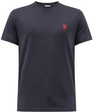 Burberry Logo-embroidered Cotton T-shirt - Navy
