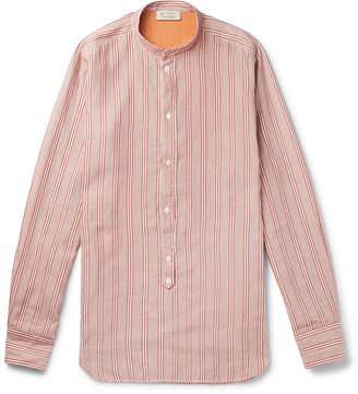 Man 1924 Grandad-Collar Striped Cotton And Silk-Blend Half-Placket Shirt