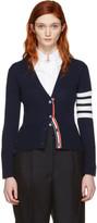 Thom Browne Navy Classic Short V-neck Cardigan