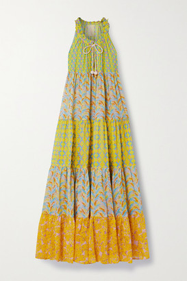 Yvonne S Hippy Tiered Printed Cotton-voile Maxi Dress - Yellow
