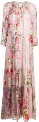 Camilla Floral-Print Long Silk Dress