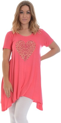 Nouvelle Collection New Womens Plus Size Top Ladies Leopard Print Heart Stud Rhinestone A-Line Asymmetric Tunic Short Sleeve T-Shirt Coral 18