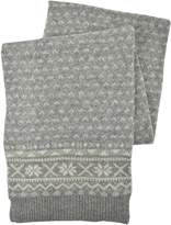Brooks Brothers Men's Fair Isle Knit Ribbed Wool Blend Winter Scarf Heather Grey O/S