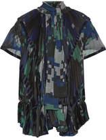 Sacai Velvet-trimmed Pleated Printed Chiffon Blouse - Navy