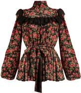 Dolce & Gabbana Rose-print ruffle-trimmed silk blouse