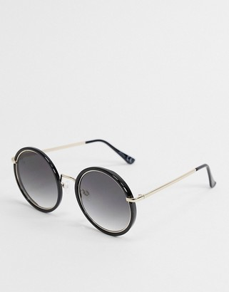Jeepers Peepers round sunglasses in black and gold