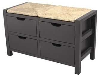 Homeroots 20' Black Wood Bench with 4 Drawers and a Seagrass Top