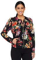George Simonton As Is Printed Knit Jacket with Zipper Detail