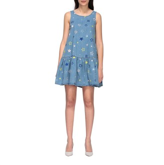 Love Moschino Denim Dress With Embroidered Stars