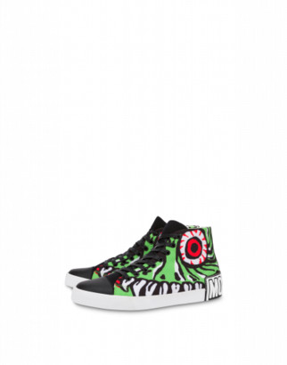 Moschino Funny Monster High Sneakers Man Green Size 39 It - (6 Us)