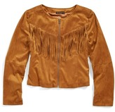 Ella Moss Faux Suede Fringe Jacket (Big Girls)