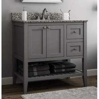 "CNC Costume National Cabinetry Vanguard 36"" Right Drawer Single Bathroom Vanity Base Only Cabinetry Base Finish: Dove Gray"