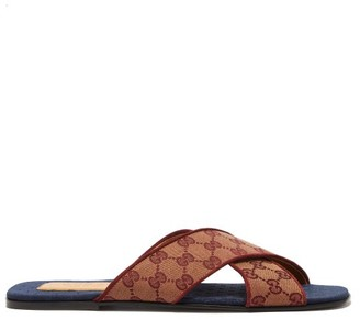 Gucci Gg Cross-strap Canvas Slides - Mens - Brown