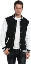 Coofandy Men Fashion Long Sleeve Button Front Cotton Bomber Baseball Jacket