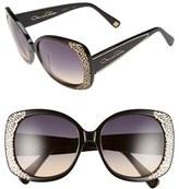 Oscar de la Renta Women's '212' 56Mm Metal Filigree Square Sunglasses - Black