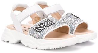 No21 Kids TEEN logo patch glitter sandals