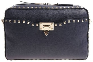 Valentino Rockstud Spike Bag In Grained Leather With Metal Studs And Removable Shoulder Strap