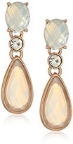 Anne Klein Rose Gold-Tone White Post Drop Earrings