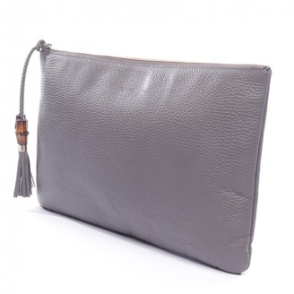 Gucci Bamboo Grey Leather Clutch bags