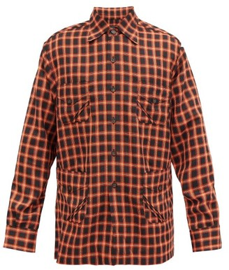 Ahluwalia Safari-pocket Checked Wool-blend Jacket - Black Red