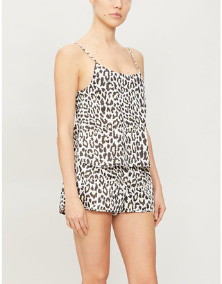 Les Girls Les Boys Leopard-print cotton-poplin pyjama top