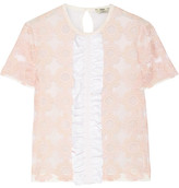 Fendi Ruffled Embroidered Tulle And Silk-chiffon Top - Pastel pink