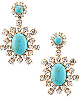 Belle Badgley Mischka Pave Turquoise Drop Statement Earrings