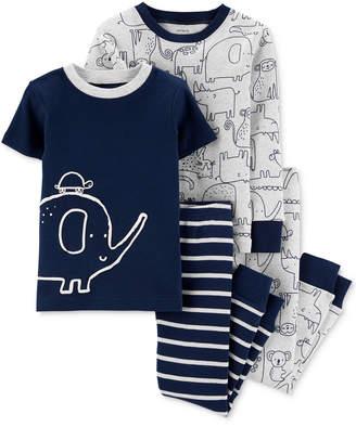 Carter's Carter Baby Boys 4-Pc. Animal-Print Cotton Pajamas Set