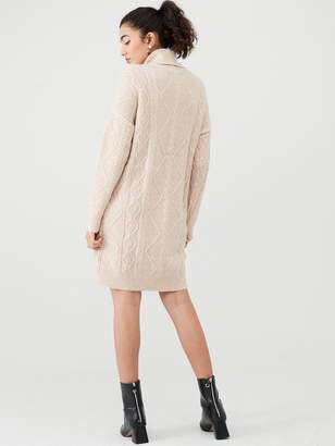Warehouse Cable Jumper Dress - Camel