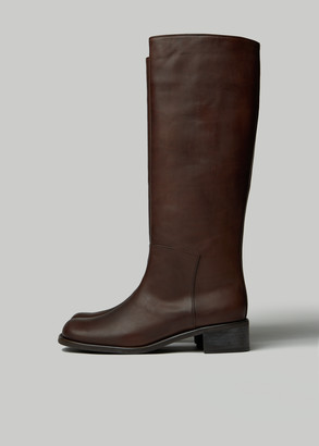 AMOMENTO Women's Long Boot in Brown Size 6 Leather/Rubber