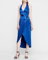 Express Textured Satin Wrap Hi-Lo Halter Maxi Dress