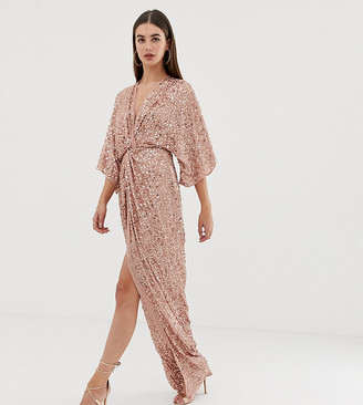 Asos Tall DESIGN Tall scatter sequin knot front kimono maxi dress-Multi