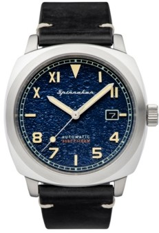 Spinnaker Men's Hull California Automatic Black Genuine Leather Strap Watch 42mm