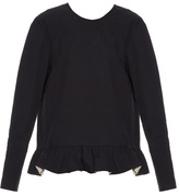 Marni Ruffled-hem long-sleeved cotton top