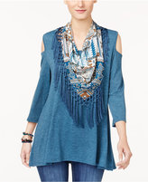 Style&Co. Style & Co Detachable Scarf Cold-Shoulder Top, Created for Macy's
