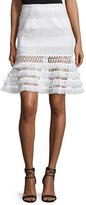 Jonathan Simkhai Mechanical Macrame Lace Flare Skirt, Ivory