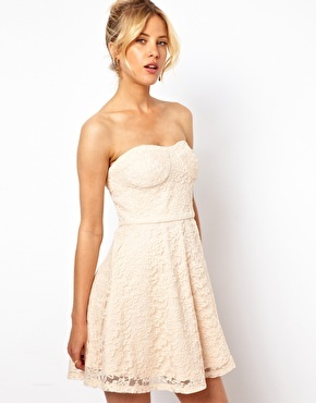 Asos Structured Lace Bandeau Skater Dress - Cream