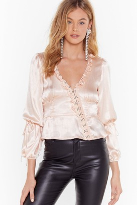 Nasty Gal Womens Let Me Off the Hook and Eye Satin Blouse - Beige - 4