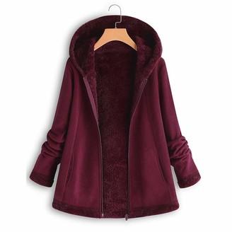 LEXUPE Women Autumn Winter Warm Comfortable Coat Casual Fashion Jacket Winter Pocket Zipper Long Sleeve Plush Hoodie Coat Wine