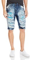 Southpole Men's Short Denim Shorts Ripped and Repaired with Light Color Backings