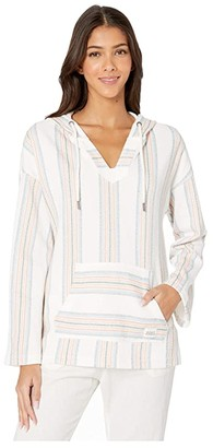 Roxy Call Of The Ocean Beach Poncho Hoodie (North Atlantic Watergirl Stripe) Women's Clothing