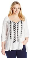 Karen Kane Women's Plus-Size Embroidered Top with Ties