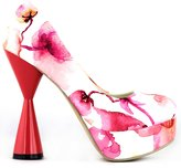 Show Story Chinese Ink Painting Flower Pattern White Evening Pumps,LF40812BU41,10US
