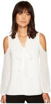 Vince Camuto Long Sleeve Cold Shoulder Tie Neck Button Down Blouse Women's Blouse
