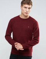 Farah Jumper With Textured Self Stripe In Slim Fit Red