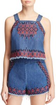 Blank NYC Blanknyc Embroidered Denim Top