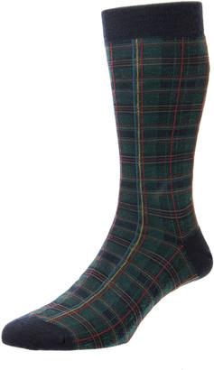 Pantherella Men's Tartan Plaid Merino Wool-Blend Socks