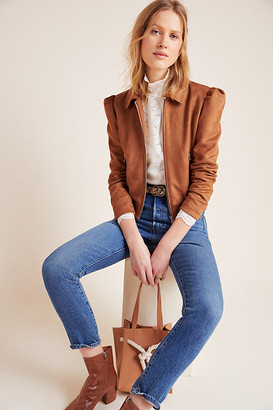 Brie Sueded Moto Jacket By Piper & Jane in Brown Size XS